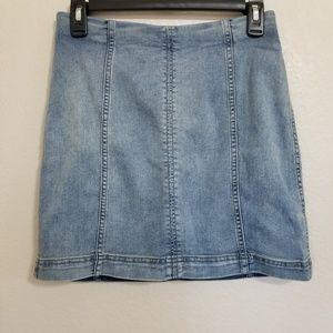 Free People Stretchy Denim Mini Skirt Size 6